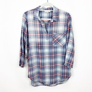Skies Are Blue Anthro Plaid V-Neck Pullover